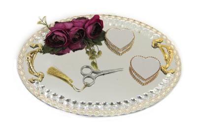 Diğer - Çiçekli Ve Kalpli Yüzük Yükselticili Oval Söz ve Nişan Tepsisi Gold