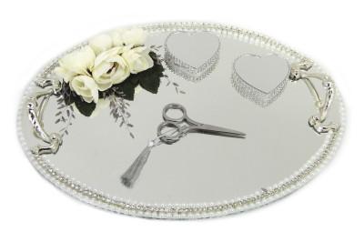 Diğer - Çiçekli Ve Kalpli Yüzük Yükselticili Oval Söz ve Nişan Tepsisi Gümüş