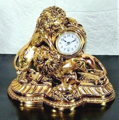 Diğer - Çift Aslan Figürlü Lüks Masa Saati Kaplama Altın Renkli