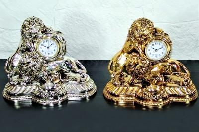 Diğer - Çift Aslan Figürlü Lüks Masa Saati Kaplama Gümüş Renkli