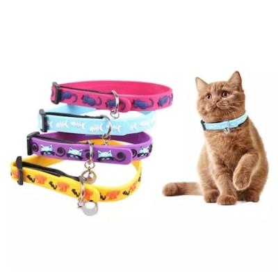 Diğer - Çıngıraklı Silikon Renkli Kedi Tasması