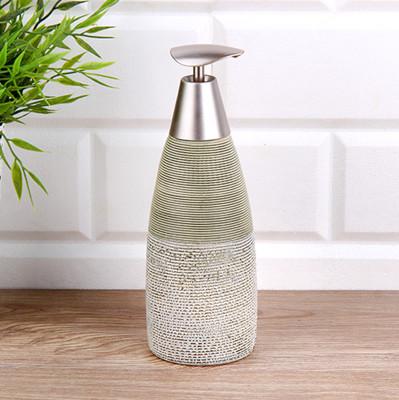 Diğer - Çizgili Tasarım Gri Seramik Sıvı Sabunluk