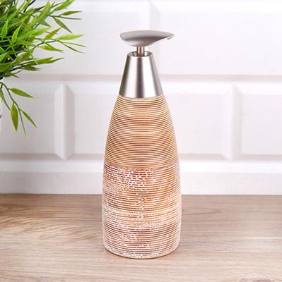 Diğer - Çizgili Tasarım Kahverengi Seramik Sıvı Sabunluk
