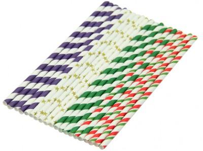 Diğer - Çizgili ve Yıldız Desenli Karışık Renkli Kağıt Pipet 20 Adet