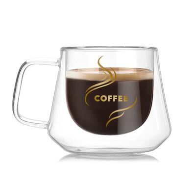 Diğer - Coffee Yazılı Çift Cidarlı Borosilikat Cam Kupa Bardak