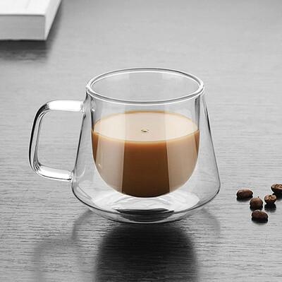 Coffee Yazılı Çift Cidarlı Borosilikat Cam Kupa Bardak - Thumbnail