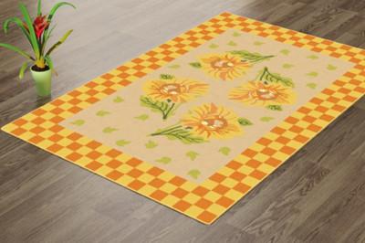 Confetti - Confetti Çiçek Desenli Pöti Kareli Yıkanabilir Halı 80x120cm