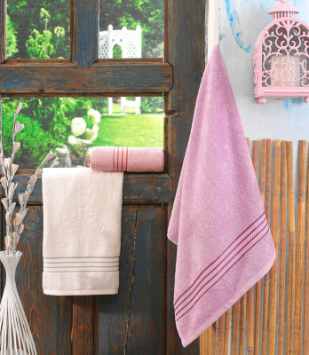 Cotton Box - Cotton Box 3lü Bambu Havlu Seti 50x85cm Pembe