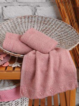 Cotton Box 3lü Güpürlü Havlu Seti Pudra