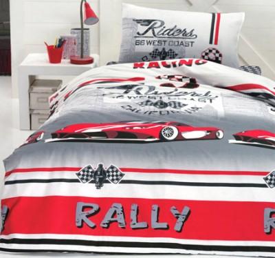 Cotton Box - Cotton Box Rally Yazılı Redcar Genç Odası Nevresim Takımı Tek Kişilik Kırmızı