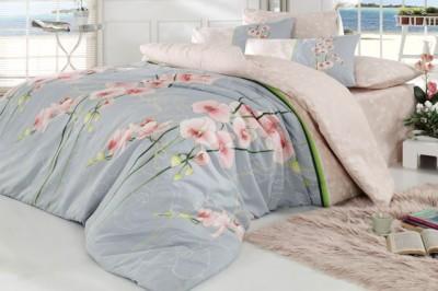 Cotton Life - Cotton Life Orkide Ranforce Nevresim Takımı Tek Kişilik Somon