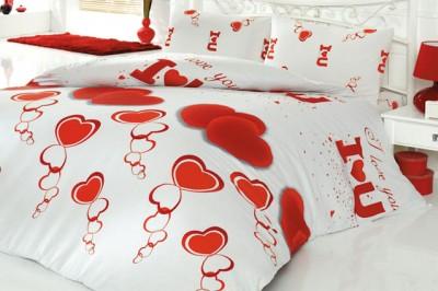 Cotton Life - Cotton Life Ranforce l Love You Nevresim Takımı Çift Kişilik Kırmızı