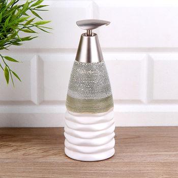 Dalgalı Gri Beyaz Seramik Sıvı Sabunluk