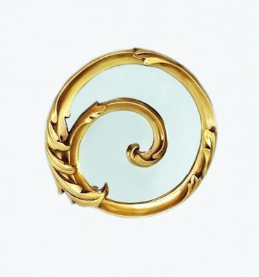 Diğer - Damla Dekoratif Oymalı Varaklı Yuvarlak Ayna 30cm Gold