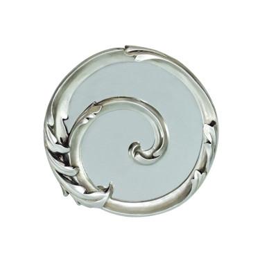 Diğer - Damla Dekoratif Oymalı Varaklı Yuvarlak Ayna 30cm Gümüş