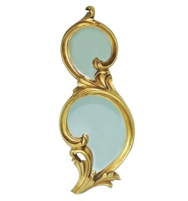 Diğer - Damla Oymalı İki Bölmeli Dekoratif Duvar Aynası 25x63cm Gold
