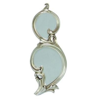 Diğer - Damla Oymalı İki Bölmeli Dekoratif Duvar Aynası 25x63cm Gümüş