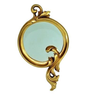 Diğer - Damla Oymalı Varaklı Dekoratif Duvar Aynası 24x44cm Gold