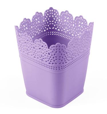 Diğer - Dantel Desenli 3lü Plastik Kare Saksı Seti Lila