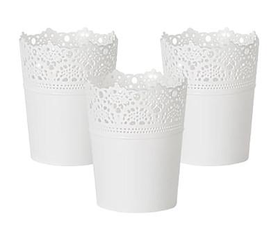Diğer - Dantel Desenli 3lü Plastik Saksı Seti Beyaz