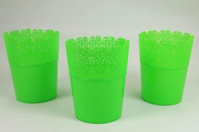 Diğer - Dantel Desenli 3lü Plastik Saksı Seti Yeşil
