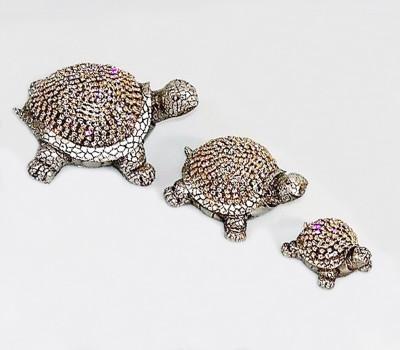 Diğer - Dekoratif 3lü Taşlı Kaplumbağa Şeklinde Biblolar Gümüş