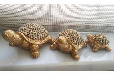 Diğer - Dekoratif 3lü Taşlı Kaplumbağa Şeklinde Biblolar Sarı