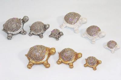 Diğer - Dekoratif 3lü Taşlı Kaplumbağa Şeklinde Biblolar Sedef