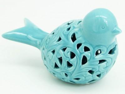 Diğer - Dekoratif Büyük Boy Porselen Delikli Kuş Biblosu Mavi