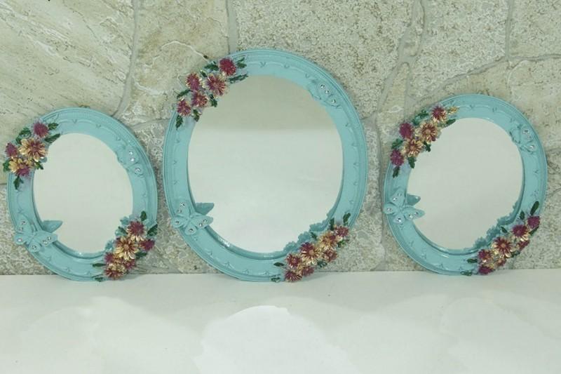 Dekoratif çiçekli Yuvarlak 3lü Ayna Takımı Mavi Dekorasyon Kazanabilcom