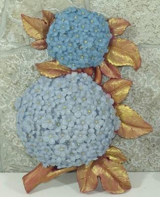 Diğer - Dekoratif El Boyaması Çiçek Duvar Panosu Ortanca Mavi