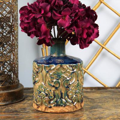 Diğer - Dekoratif Eskitme Desenli Dar Ağızlı Seramik Vazo 18cm