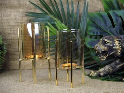Diğer - Dekoratif Gold Metal Ayaklı Mumluk 14cm