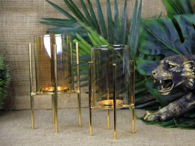 Diğer - Dekoratif Gold Metal Ayaklı Mumluk 18cm