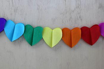 Diğer - Dekoratif Kalpli Akordeon Parti Süsleme Kağıdı