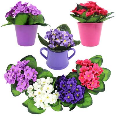 Diğer - Dekoratif Saksıda Yapay Menekşe Çiçeği Asorti