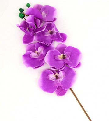 Diğer - Dekoratif Tek Dal Kumaş Orkide Mor