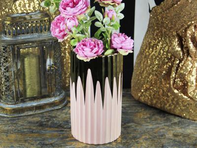 Diğer - Dekoratif Tırtıklı Tasarım Pembe Siyah Porselen Vazo 25cm