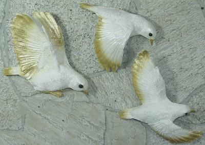 Diğer - Dekoratif Yaldızlı Güvercin Duvar Süsü 3 Parça Sedef
