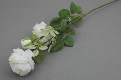 Diğer - Dekoratif Yapay Çiçek 3lü Karanfil Dalı Beyaz