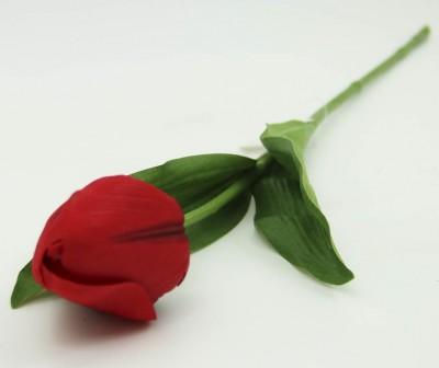 Diğer - Dekoratif Yapay Çiçek Kısa Lale Dalı Kırmızı