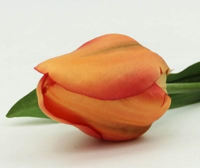 Diğer - Dekoratif Yapay Çiçek Kısa Lale Dalı Turuncu