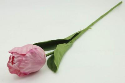 Diğer - Dekoratif Yapay Çiçek Uzun Lale Dalı Pembe
