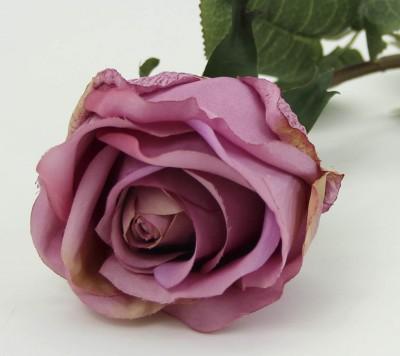 Diğer - Dekoratif Yapay Çiçek Uzun Tek Gül Dalı Lila