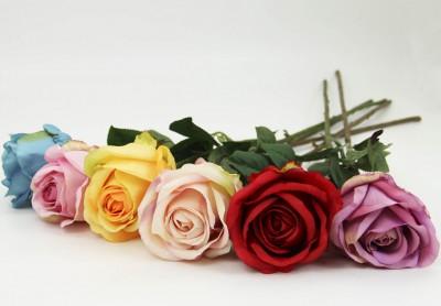 Diğer - Dekoratif Yapay Çiçek Uzun Tek Gül Dalı Pembe