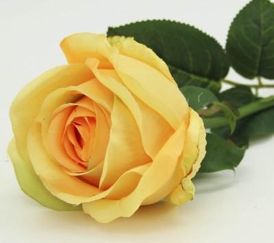 Diğer - Dekoratif Yapay Çiçek Uzun Tek Gül Dalı Sarı