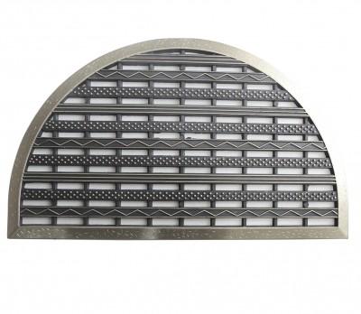 Diğer - Delikli Kapı Önü Kauçuk Yarım Ay Paspas 44x70cm Gümüş