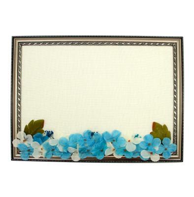 Diğer - Dikdörtgen Çerçeveli Çiçekli Erkek Bebek Kapı Süsü Malzemesi Mavi