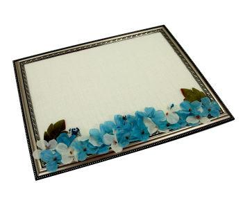 Dikdörtgen Çerçeveli Çiçekli Erkek Bebek Kapı Süsü Malzemesi Mavi