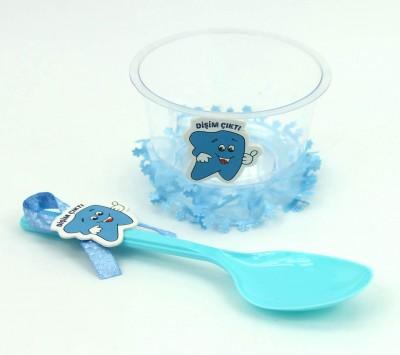 Diş Buğdayı Bebek Kase ve Kaşık Seti Mavi 24 Parça - Thumbnail